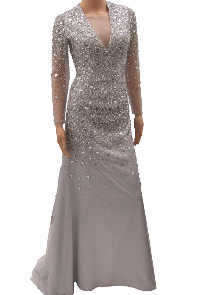Silver Platinum Grey Sheer Plunging V Neck Sequin Long Sleeved Evening Formal Prom Dress