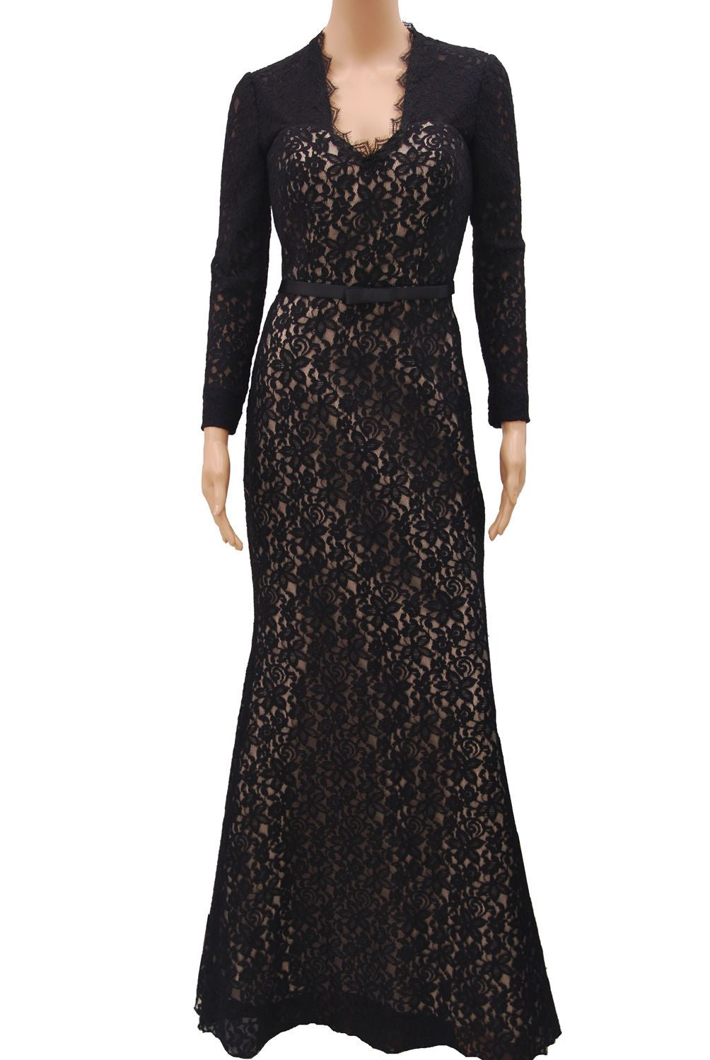 Long Sleeve Black lace V neckline with scallop open back design ...