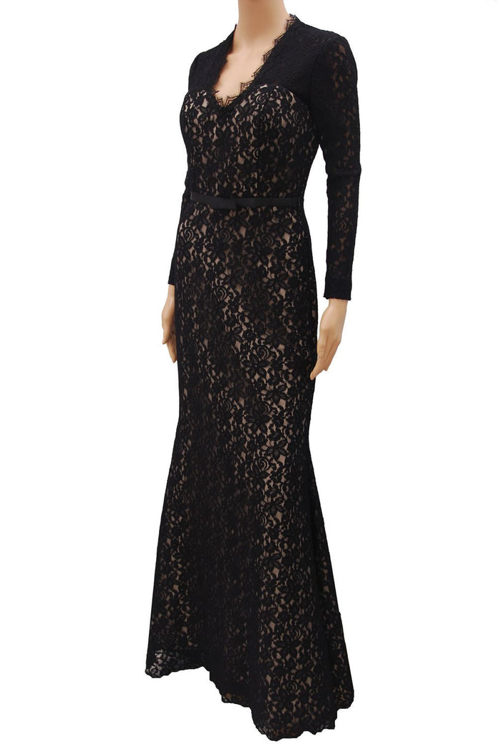 Long Sleeve Black lace V neckline with scallop open back design evening dress