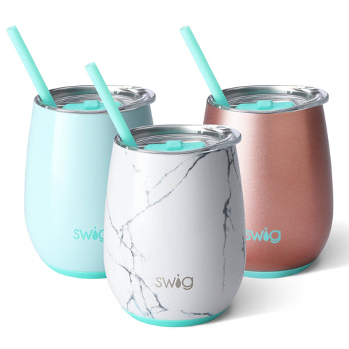Shown here are three 14oz Stemless Wine Cups by Swig life in Marble, Seaglass and Rose Gold.