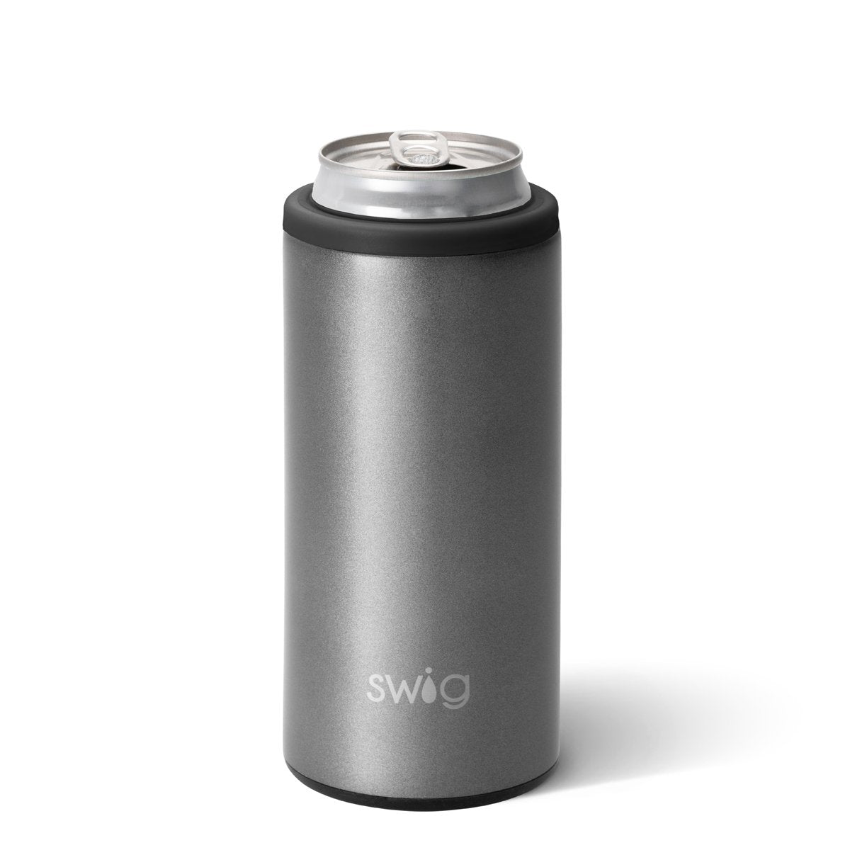 12oz Shimmer Graphite Stainless Steel Can Cooler Swig Life