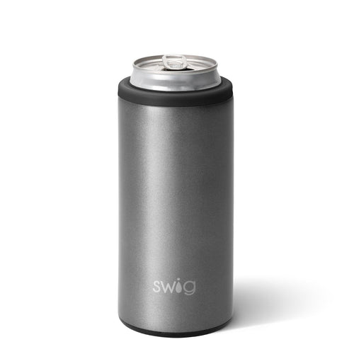 "Shimmer Graphite Skinny Can Cooler (12oz)<br/><font color=""#ee41aa"">ETA: July 22</font>"