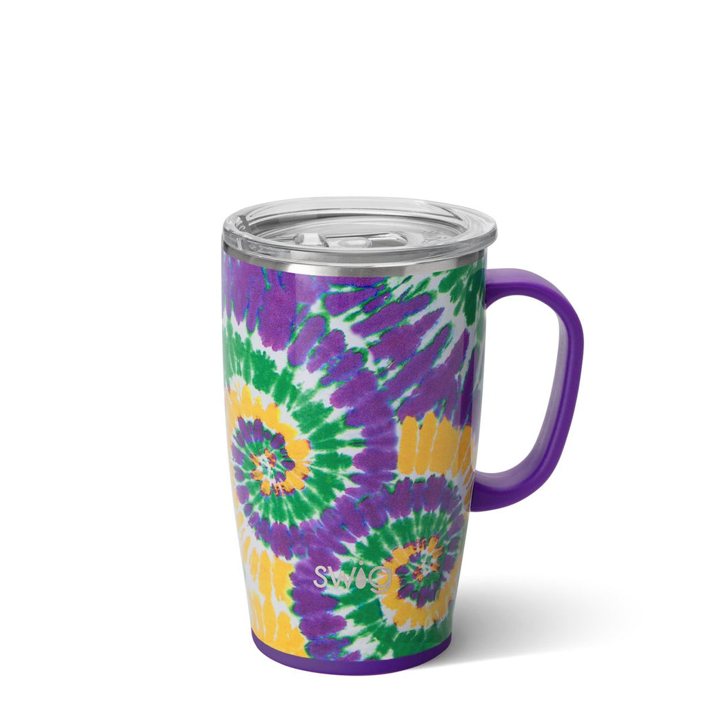 Mardi Gras Tie Dye Travel Mug (18oz)