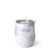 Shimmer Diamond White Stemless Wine Cup (12oz) - Swig Life