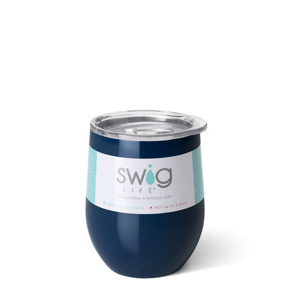 Navy Stemless Wine Cup (12oz)