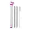 Hot Pink Double Stainless Steel Straw Set - Swig Life