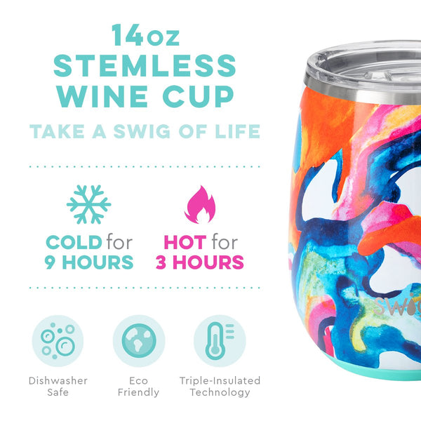 Color Swirl Stemless Wine Cup (14oz)