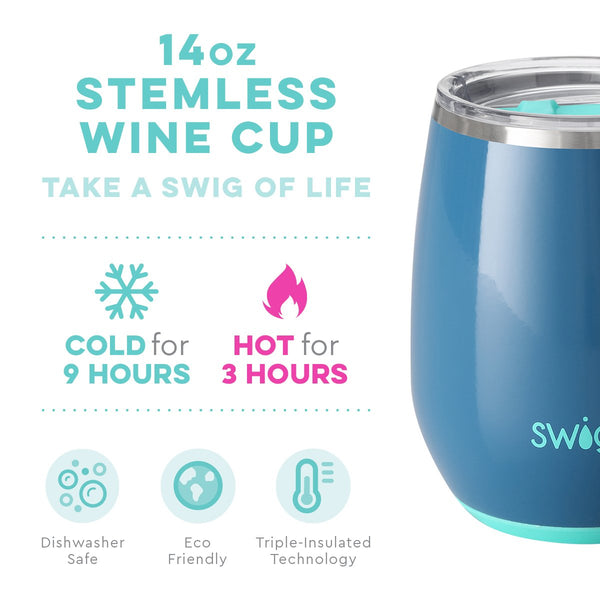 Glossy Denim Stemless Wine Cup (14oz)