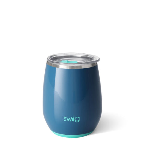 14oz Stemless Wine Lid with Turquoise Slider