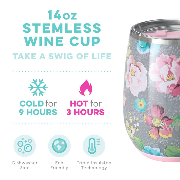Garden Party Stemless Wine Cup (14oz)