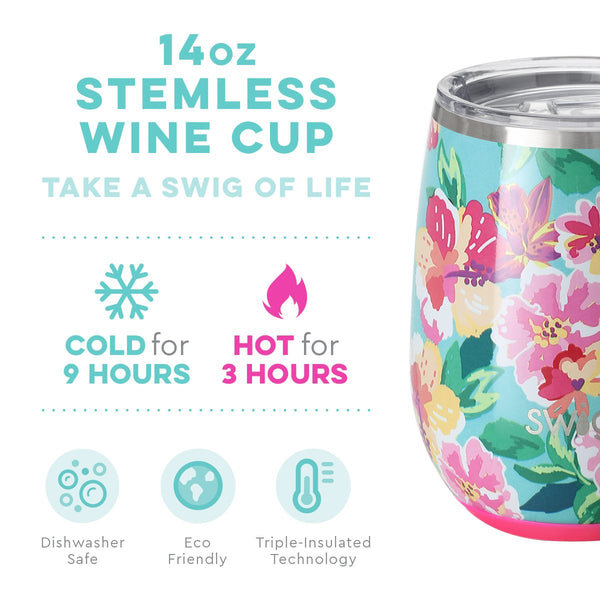 Island Bloom Stemless Wine Cup (14oz)
