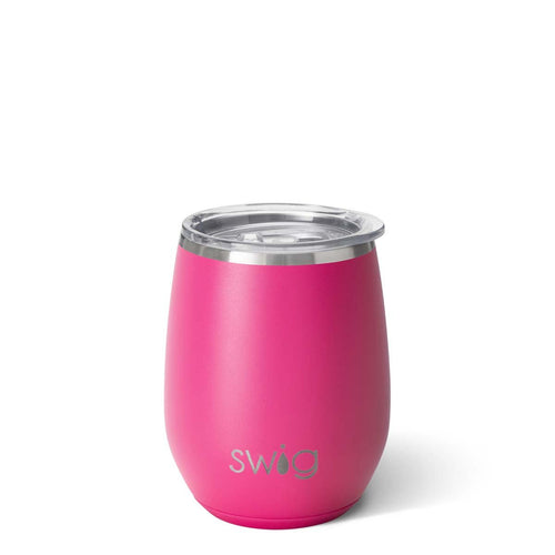 Matte Hot Pink Stemless Wine Cup (14oz)