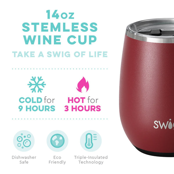 Matte Maroon/Black 14oz Stemless Wine Cup