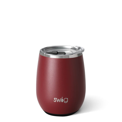 Matte Maroon/Black Stemless Wine Cup (14oz)
