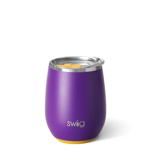 Matte Purple/Yellow Stemless Wine Cup (14oz)