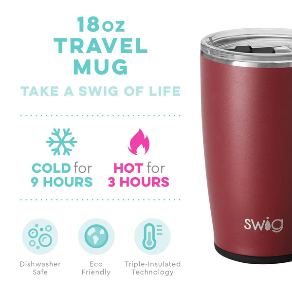 Matte Maroon/Black Travel Mug (18oz)