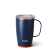 Matte Navy Blue/Orange Travel Mug (18oz) - Swig Life