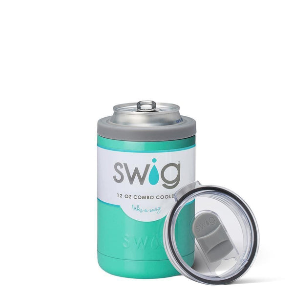 Swig Life 12oz Combo Can Cooler in Turquoise with Label