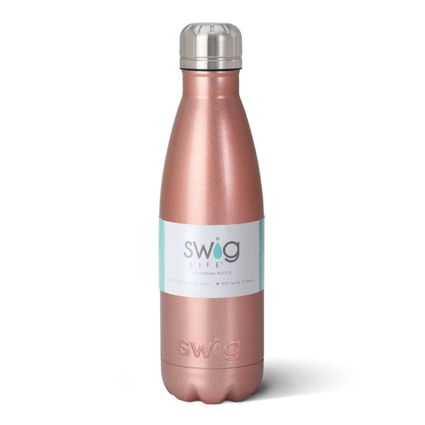 Swig Life 17oz Bottle in Rose Gold with Label