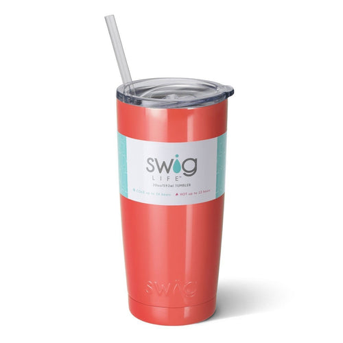 Swig Life 20oz Tumbler in Coral with Label