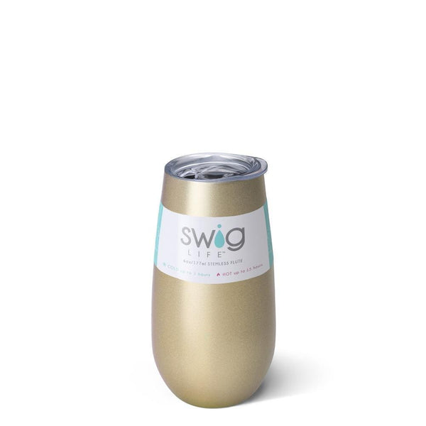 Swig Life 6oz Stemless Flute in Champagne with Label