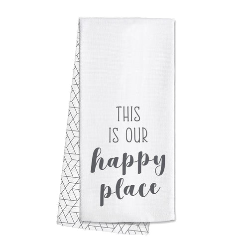 Swig Life Grey Barware This is our Happy Place Tea Towel