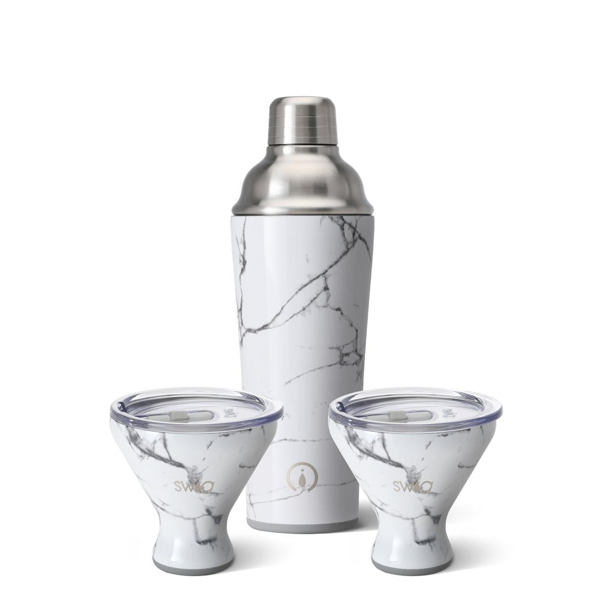 Marble Slab Cocktail Shaker + 2 Martinis Set