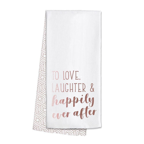 Swig Life Rose Gold Barware Love, Laughter & Happily Ever After Tea Towel