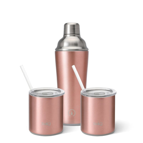 Rose Gold Cocktail Shaker + 2 Lowballs Set