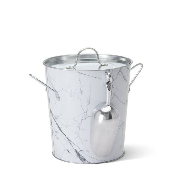 Swig Life Barware Marble 9-Quart Ice Bucket with Scoop and Liner