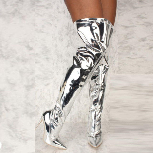 Mirror Chrome Over The Knee Boots - AfterAmour