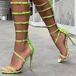 Green Snakeskin Open-Toed High Heels - AfterAmour