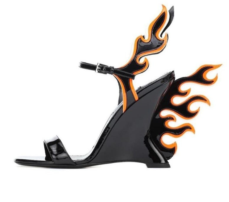Amour Leather Fire Flame Heels - AfterAmour