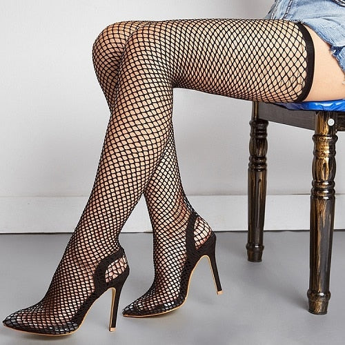Mesh Over The Knee Boots Pointed High Heel Boots - AfterAmour