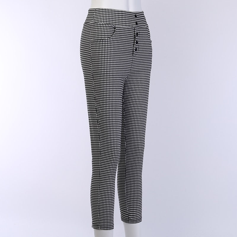 Vintage Button High Waist Checker Plaid Pants - AfterAmour