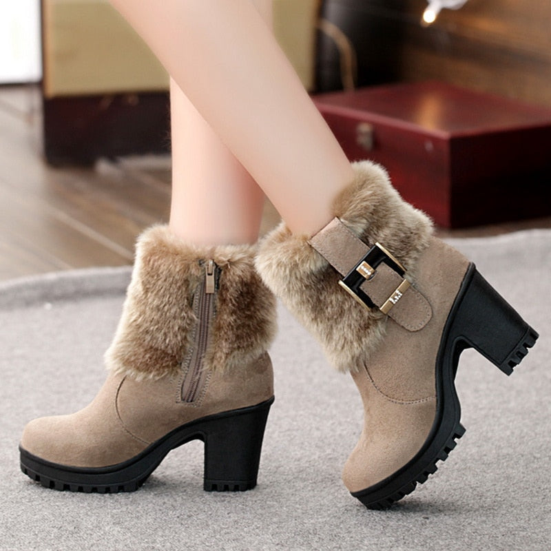 Classic Warm Fur Buckle  Boots - AfterAmour