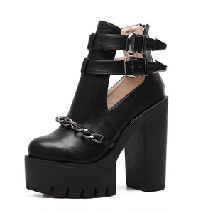 Cut-out Leather Platform Shoes - AfterAmour