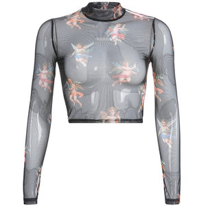 Pink Angel Mesh Long Sleeve Turtleneck Tee - AfterAmour