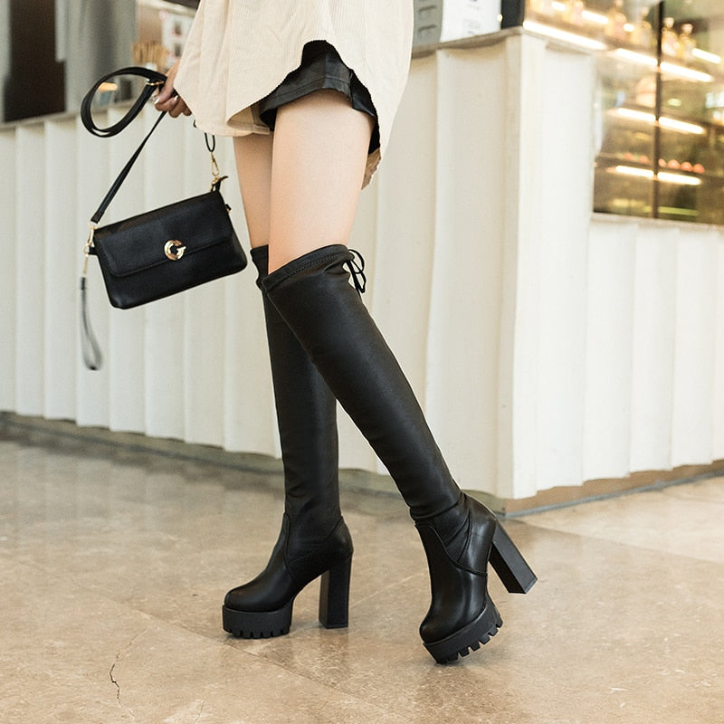 Sexy Suede Thigh High Boots - AfterAmour
