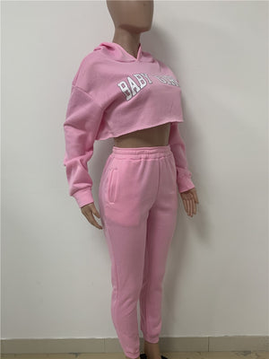 Crop Sweatsuit Two Piece - AfterAmour