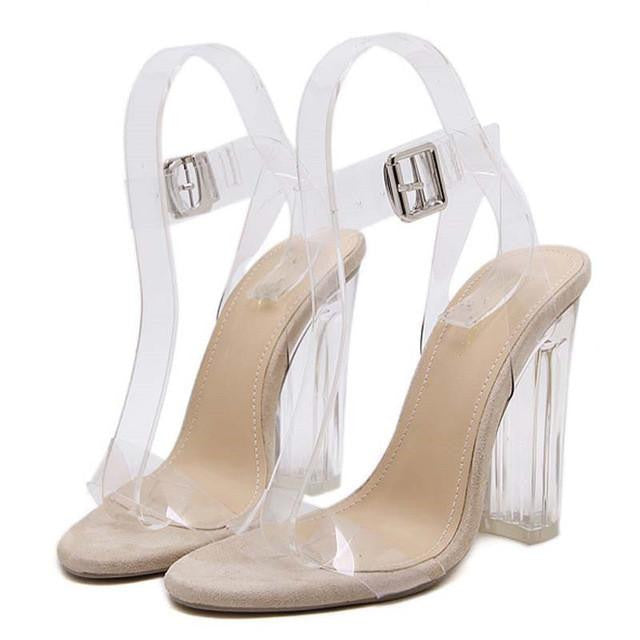 clear gladiator buckle strap high heels - AfterAmour
