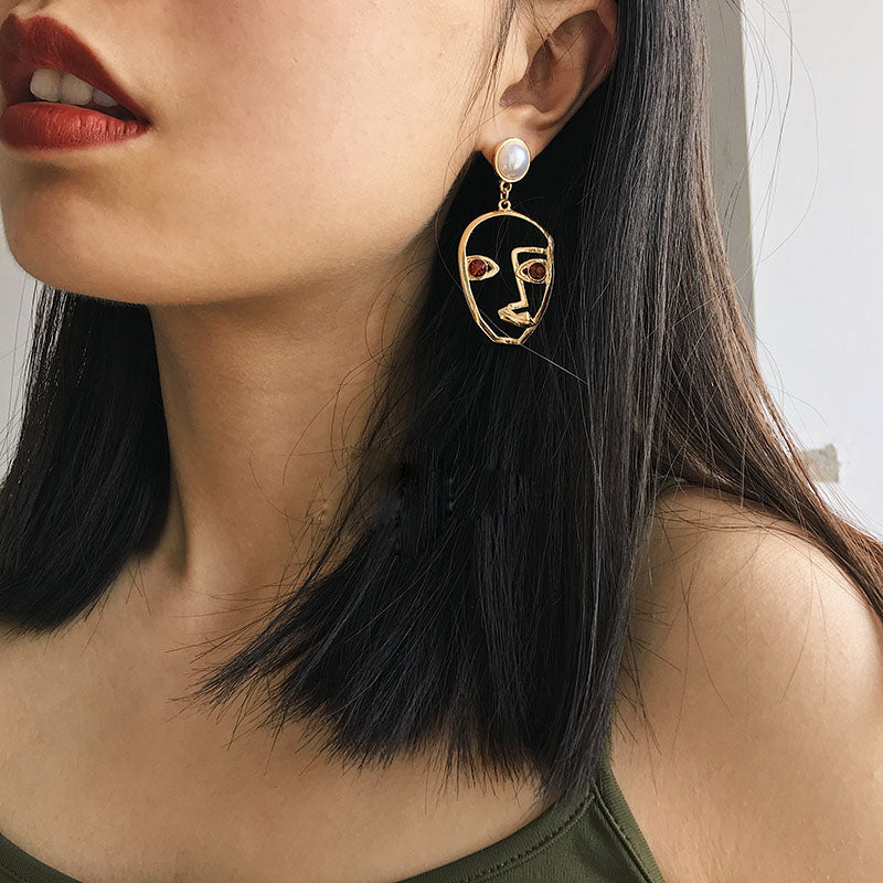 abstract hollow face drop earrings - AfterAmour
