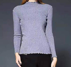 basic long sleeve turtleneck sweater - AfterAmour