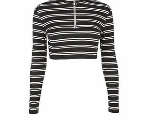 stripped cropped pullover sweatshirt - AfterAmour