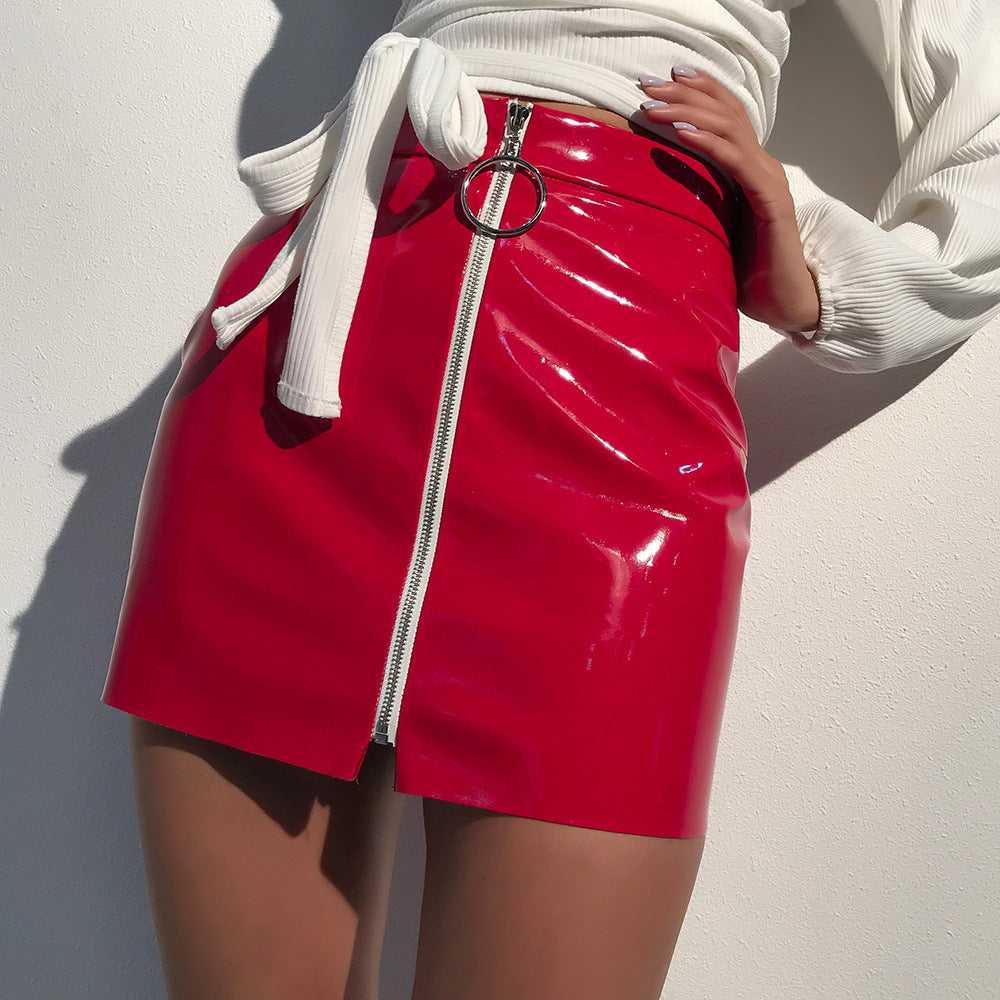 allure zip-up mini skirt