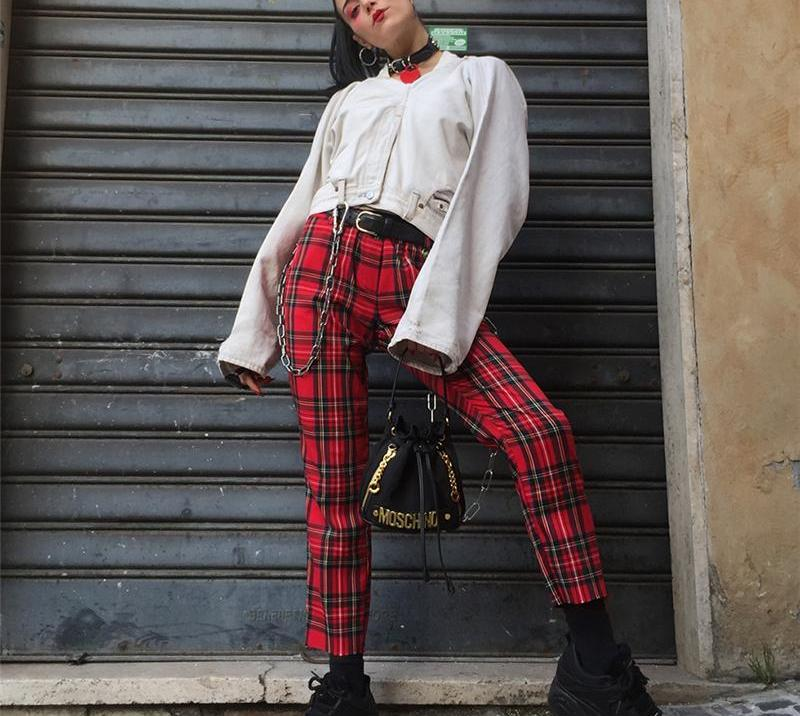 royal red plaid pants - AfterAmour