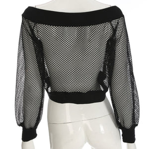 Mesh See-Through Off Shoulder Jacket - AfterAmour