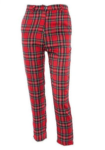 high street flannel plaid chained pants - AfterAmour