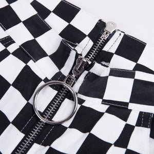zipper checkered pants - AfterAmour