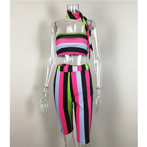Beach Striped Sexy Two Piece Set Top & Pants - AfterAmour